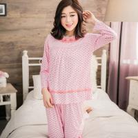 lingling日系 小花蕾絲滾邊棉質二件式睡衣組(全尺碼)