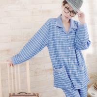 男款-時尚薄膨棉壓格紋二件式男仕睡衣組(獨特藍)大尺碼lingling日系
