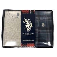 US Polo 2018男小馬球法蘭絨灰松綠格子長袖睡衣套組
