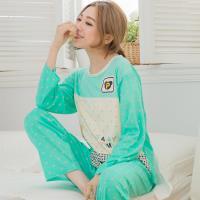 lingling日系 小熊口袋格紋牛奶絲二件式睡衣組(全尺碼,共二色)