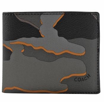 COACH 32614 迷彩撞色防防刮牛皮中短夾.灰
