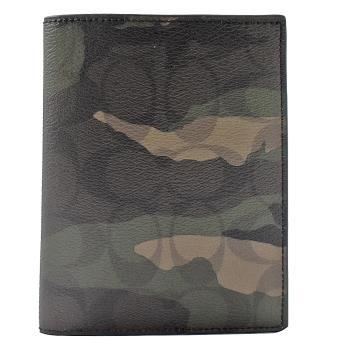 COACH 12009 經典LOGO迷彩防刮牛皮信用卡護照夾.墨綠
