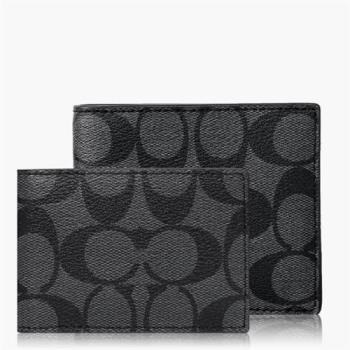 COACH 經典 PVC / 雙摺短夾(附卡夾) 黑色
