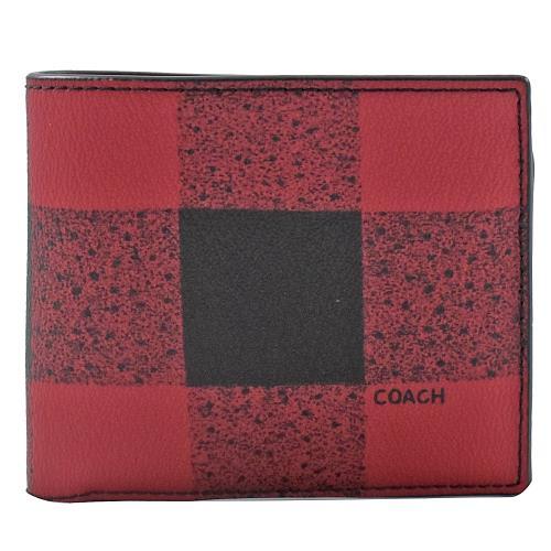 4895a9bec5e2 COACH格紋防刮牛皮中短夾(紅黑)|COACH短夾|ETMall東森購物