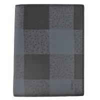 COACH格子拼接PVC 信用卡護照夾(藍黑)