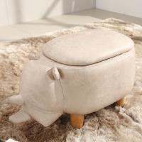 LOGIS邏爵 迷你牛動物儲物收納凳 實木四腳椅 可愛造形椅 整理箱 矮凳兒童椅 AD01Z