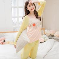 lingling日系 薄軟棉水果貼布拼橫紋二件式睡衣組(全尺碼)