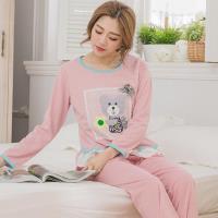lingling日系 貼布熊前短後長棉質二件式睡衣組(全尺碼)