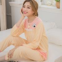 lingling日系 動物貼布方格棉質二件式睡衣組(共二色,全尺碼)