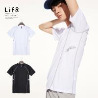 Life8-Sport 彈力透氣 夜反光修身剪接上衣-13145