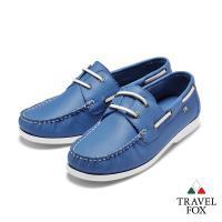 Travel Fox(男)  我的天空 超軟苯染牛皮二孔經典親膚帆船鞋 - 映海藍