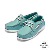 Travel Fox(女)  我的天空 超軟苯染牛皮二孔經典親膚帆船鞋 - 薄荷綠