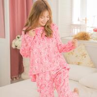 lingling日系 愛心鐵塔水貂絨二件式睡衣組(全尺碼)