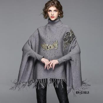( RN-girls)-精品個性時尚字母高領毛衣式斗篷外套