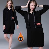 麗質達人 - 3179黑色連帽亮片洋裝