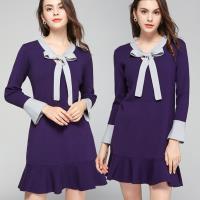 麗質達人 - 75115藍灰拼色針織洋裝