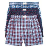 Tommy Hilfiger 2018男時尚藍紅色標格平口內著混搭3件組