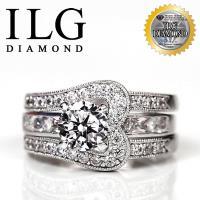 【頂級美國ILG鑽飾】八心八箭戒指 - 環球小姐款 主鑽約75分 RI081 多種戴法的華麗套戒 寬版戒指修飾手指 擇媲美真鑽亮度