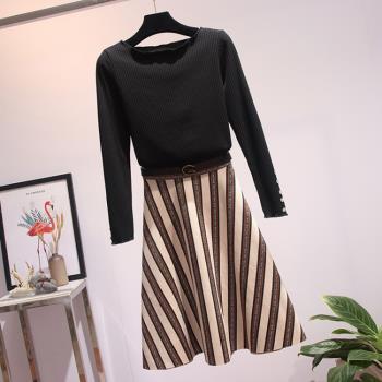 KVOLL-一字領上衣麂皮絨半身裙套裝XL~5XL