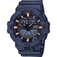 CASIO 卡西歐 G-SHOCK 限量丹寧雙顯手錶-深藍 GA-700DE-2A /GA-700DE-2ADR