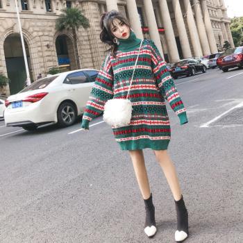 KVOLL-豔綠長版針織高領毛衣裙L-2XL