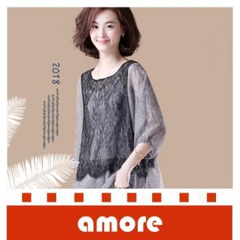 Amore 蝙蝠袖假兩件蕾絲拼接七分袖雪紡衫