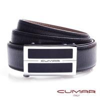 【CUMAR】簡約銀黑造型-自動扣皮帶-可微調無齒式-義大利皮革(黑色細直木紋)