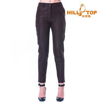 【hilltop山頂鳥】女款超潑水彈性保暖長褲H31FL2焙咖啡