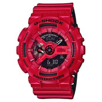 CASIO 卡西歐 G-SHOCK 網眼元素運動手錶-亮面紅 GA-110LPA-4ADR / GA-110LPA-4A