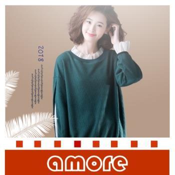 Amore 2018秋季大碼女裝韓版假兩件荷葉領套頭衛衣
