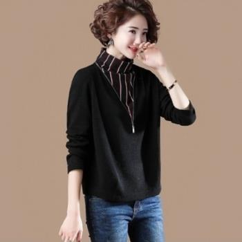 Amore 2018早秋新款大碼條紋拼接假兩件高領寬鬆韓版長袖打底衫