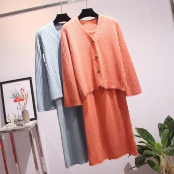 KVOLL-毛衣外套背心裙兩件式套裝XL-4XL(共二色)