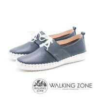 WALKING ZONE 簡約舒適 皮革綁帶百搭便鞋 女鞋-藍(另有白)