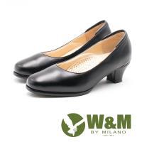 W&M舒適氣墊 優雅圓頭中跟皮鞋 女鞋-黑
