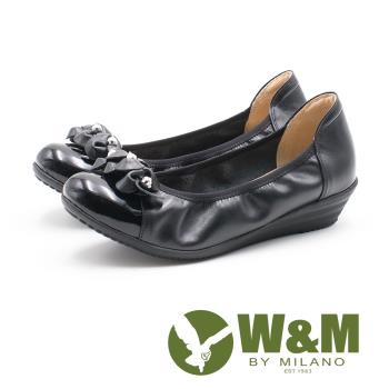W&M淑女水鑽 彈力帶牛皮低跟鞋 女鞋-黑(另有藕紫色)