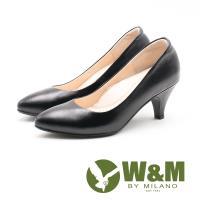 W&M精緻淑女 尖頭低跟皮鞋 女鞋-黑