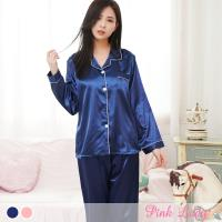PINK LADY 韓版男友風排釦式絲質成套睡衣 二色 (001)