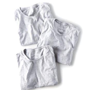 American Eagle 2018男時尚柔軟棉灰色圓領短袖內衣3件組