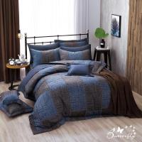 BUTTERFLY-台製40支紗純棉-薄式加大雙人床包被套四件組-西部牛仔