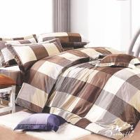 BUTTERFLY-台製40支紗純棉-薄式加大雙人床包兩用被組-格子趣-咖
