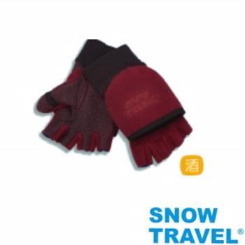[SNOW TRAVEL]WINDBLOC防風保暖半指兩用手套/酒紅/M號AR-47
