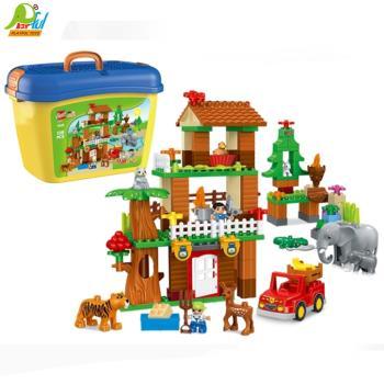 Playful Toys 頑玩具 叢林探險積木1033(大型積木 兒童玩具積木 叢林探險積木 探險積木 動物積木 桶裝玩具積木)
