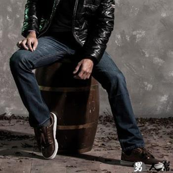 男人幫-K0385*潮流嚴選原宿修身窄版單寧小直筒牛仔褲立體剪裁鬼痕抓皺