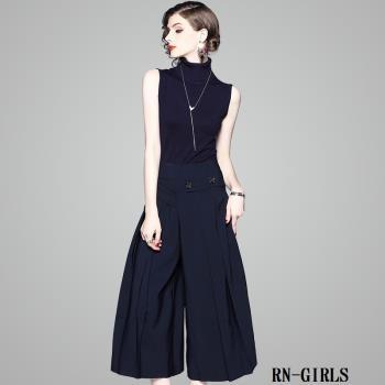 RN-girls--精品OL上班族羊毛針織無袖上衣+闊腿褲兩件式長袖套裝
