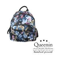 DF Queenin流行 - 經典花卉女人手提雙肩後背包