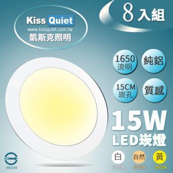《Kiss Quiet》全鋁超耐用20W亮度15W功耗,LED崁燈含變壓器-8入