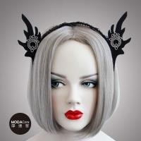 摩達客 萬聖派對頭飾-哥德風黑色精靈耳蕾絲創意造型髮箍