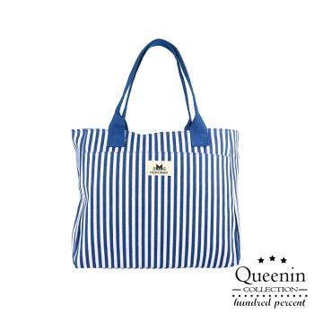 DF Queenin流行 - 直條紋手提肩背帆布托特包-共2色