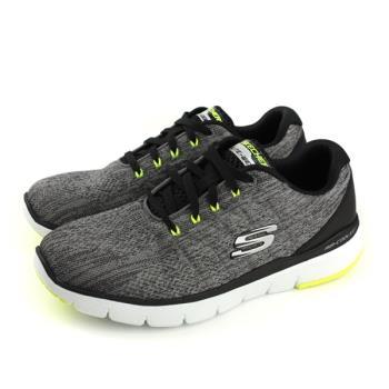 SKECHERS 運動鞋 針織 寬楦 男鞋 灰色 52957WGYBK no870