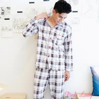 【PINK LADY】型男棉柔長袖成套睡衣 簡約格子221-24 (咖)